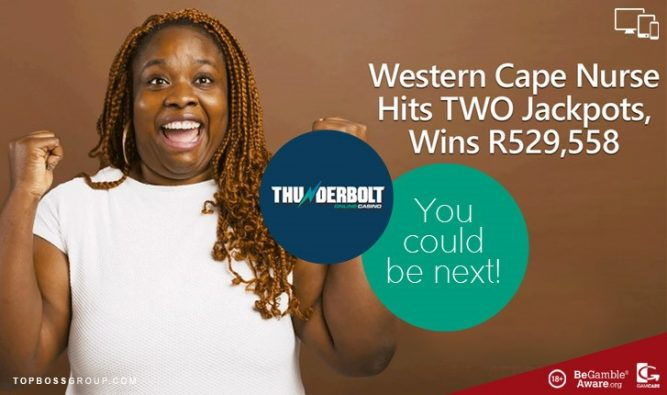 Western Cape Nurse wins 2 jackpots at Thunderbolt Casino