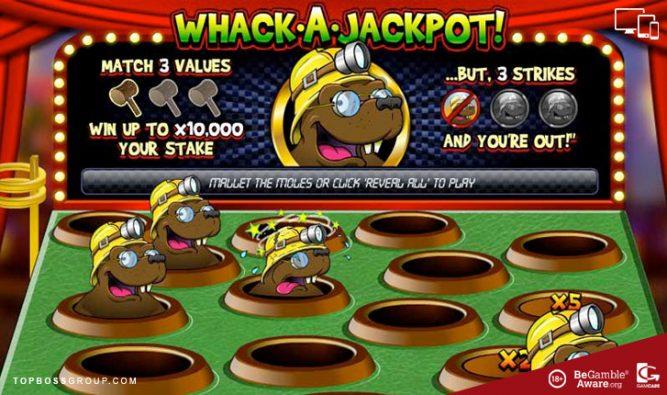 Whack a jackpot scratch card